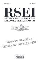 "RSEI Revista de la Sociedad Española de los italianistas, volumen 14 del 2020. Número monográfico ""Tra Medioevo e Rinascimento. Escrittori italiani e Querelle des Femmes"""